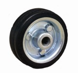 Wheel  80mm Sliver Metal Centre with Blank Rubber Tyre pk1