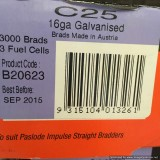 Brads C 16g Galvanised 25mm with 3 Fuel Cells B20623 bx3000