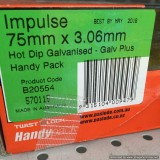 Nails Impulse Hot Dipped Galvanised 75x3.06mm Flat Head with 1 Fuel Cell B20554 bx1000