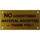 "Sign ""No Advertising Material"" Ref Green 45x65mm H264 pk1"