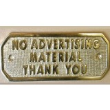 "Sign ""Not Advertising Material"" Sliver 50x100mm H826 pk1"